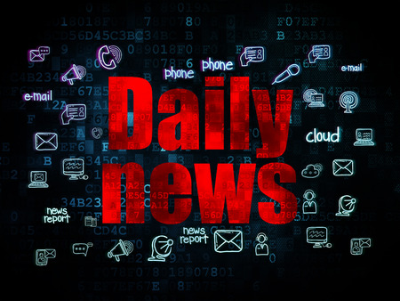 bad news: News concept: Pixelated red text Daily News on Digital background with  Hand Drawn News Icons, 3d render