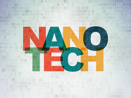 nanotech: Science concept: Painted multicolor text Nanotech on Digital Paper background Stock Photo