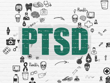 healing process: Medicine concept: Painted green text PTSD on White Brick wall background with Scheme Of Hand Drawn Medicine Icons