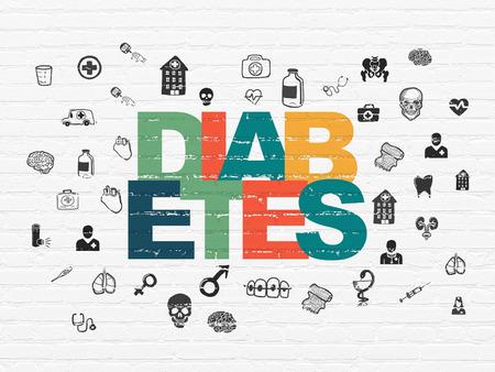 diabetes: Concepto de medicamento: pintado multicolor Diabetes texto sobre fondo blanco de la pared de ladrillo con el dibujado a mano Iconos de Medicina Foto de archivo