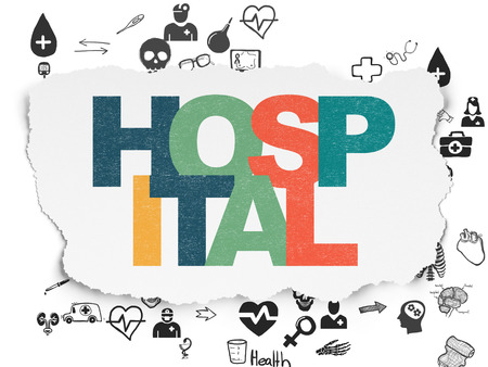 healing process: Healthcare concept: Painted multicolor text Hospital on Torn Paper background with Scheme Of Hand Drawn Medicine Icons, 3d render Stock Photo