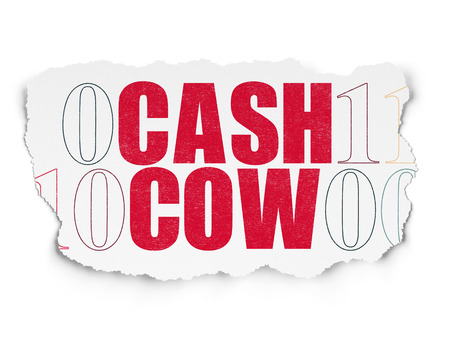 cash cow: Finance concept: Painted red text Cash Cow on Torn Paper background with  Binary Code, 3d render