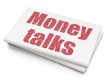 conversaciones: Concepto de las finanzas: pixelada Money Talks icono en el fondo del peri�dico en blanco, 3d Foto de archivo