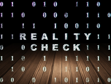 check room: Business concept: Glowing text Reality Check in grunge dark room with Wooden Floor, black background with Binary Code Stock Photo