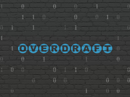 overdraft: Business concept: Painted blue text Overdraft on Black Brick wall background with Binary Code Stock Photo