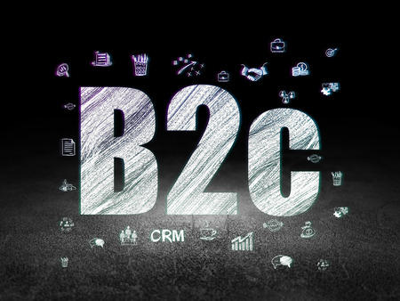 b2c: Business concept: Glowing text B2c,  Hand Drawn Business Icons in grunge dark room with Dirty Floor, black background