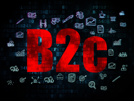 b2c: Finance concept: Pixelated red text B2c on Digital background with  Hand Drawn Business Icons, 3d render