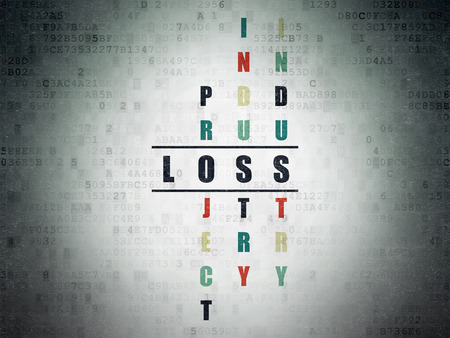 loss leader: Business concept: Painted black word Loss in solving Crossword Puzzle on Digital Paper background