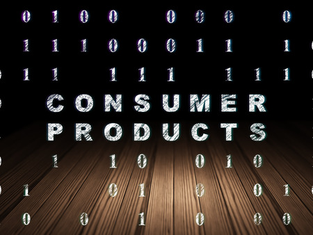 consumer products: Business concept: Glowing text Consumer Products in grunge dark room with Wooden Floor, black background with Binary Code Stock Photo