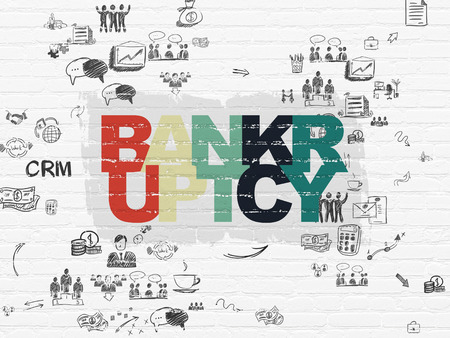 Business concept: Painted multicolor text Bankruptcy on White Brick wall background with Scheme Of Hand Drawn Business Icons Banco de Imagens