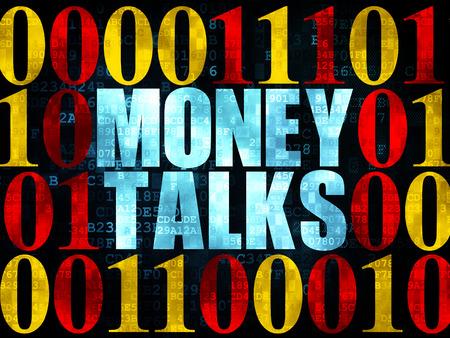 conversaciones: Concepto de negocio: Pixelated texto azul dinero habla sobre la pared de fondo digital con código binario, 3d