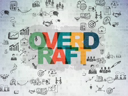 overdraft: Business concept: Painted multicolor text Overdraft on Digital Paper background with Scheme Of Hand Drawn Business Icons