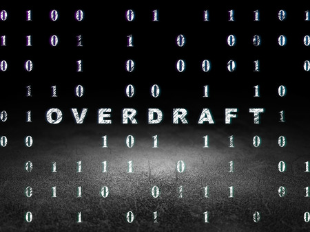 overdraft: Business concept: Glowing text Overdraft in grunge dark room with Dirty Floor, black background with Binary Code