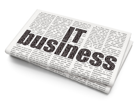 money management: Business concept: Pixelated  IT Business icon on Newspaper background, 3d render Stock Photo