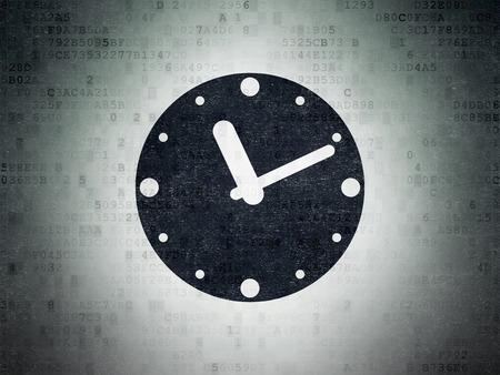 cronologia: Concepto de tiempo: Pintado icono Reloj negro sobre fondo de papel digital