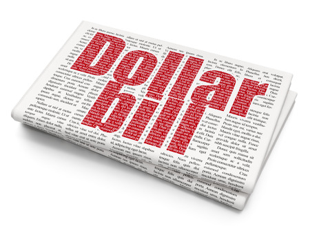 news values: Banking concept: Pixelated red text Dollar Bill on Newspaper background