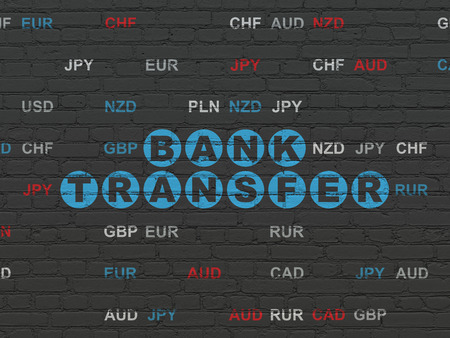 bank overschrijving: Banking concept: Painted blue text Bank Transfer on Black Brick wall background with Currency