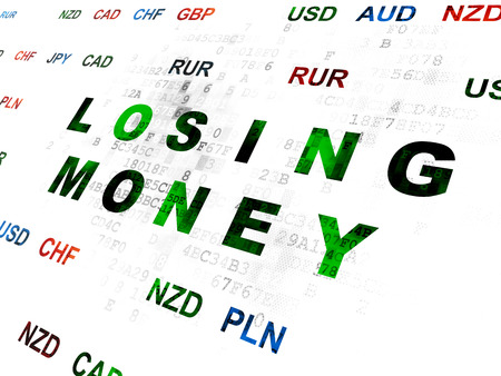 losing money: Banking concept: Pixelated green text Losing Money on Digital wall background with Currency