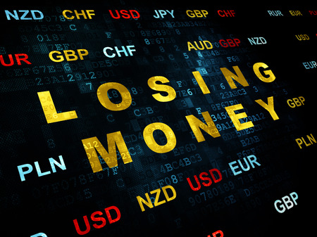 losing money: Banking concept: Pixelated yellow text Losing Money on Digital wall background with Currency