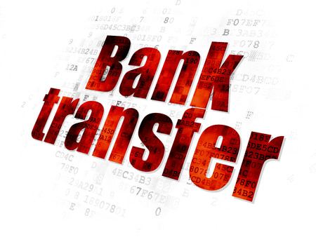bank overschrijving: Money concept: Pixelated red text Bank Transfer on Digital background Stockfoto
