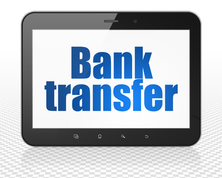 bank overschrijving: Money concept: black Tablet Pc Computer with blue text Bank Transfer on display, 3d render Stockfoto