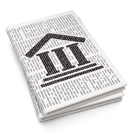 lex: Law concept: Pixelated black Courthouse icon on Newspaper background