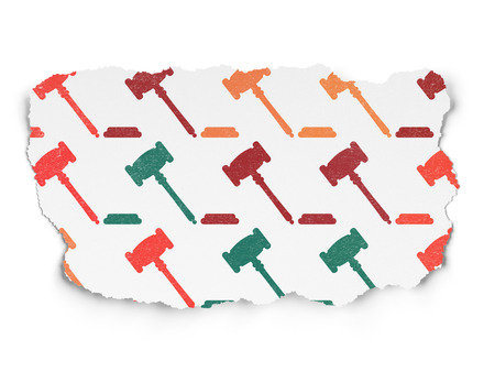 criminal act: Law concept: Painted multicolor Gavel icons on Torn Paper background