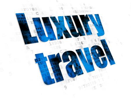 agencia de viajes: concepto de turismo: pixelada azul del icono del recorrido de lujo en el fondo digital