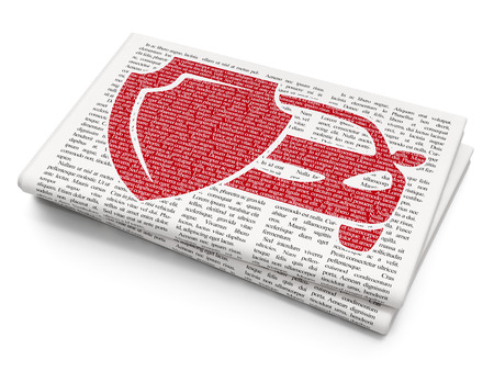 automobile insurance: Insurance concept: Pixelated red Car Insurance icon on Newspaper background