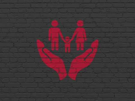 black family: Insurance concept: Painted red Family Insurance icon on Black Brick wall background