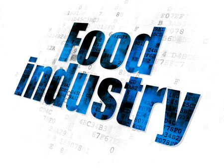 food industry: Industry concept: Pixelated blue Food Industry icon on Digital background