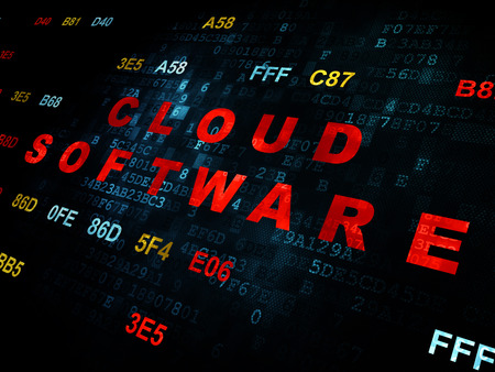 hexadecimal: Cloud computing concept: Pixelated red text Cloud Software on Digital wall background with Hexadecimal Code Stock Photo