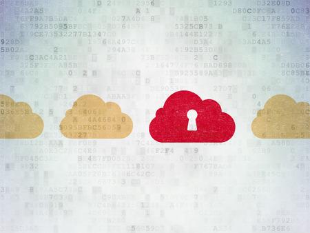 Cloud computing concept: rangée de Painted nuage icônes jaunes autour nuage rouge avec l'icône de serrure sur le papier numérique fond