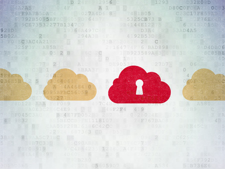 Cloud computing concept: row of Painted yellow cloud icons around red cloud with keyhole icon on Digital Paper background