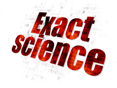 exact science: Science concept: Pixelated red Exact Science icon on Digital background Stock Photo