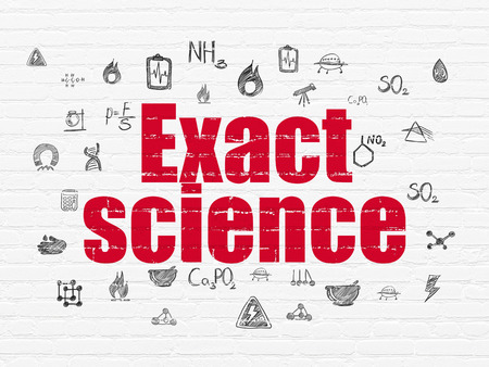 exact science: Science concept: Painted red text Exact Science on White Brick wall background with  Hand Drawn Science Icons