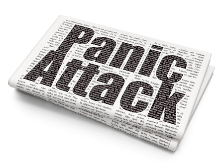 panic attack: Healthcare concept: Pixelated black text Panic Attack on Newspaper background
