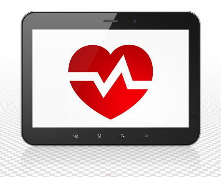 healing touch: Health concept: black Tablet Pc Computer with red Heart icon on display, 3d render