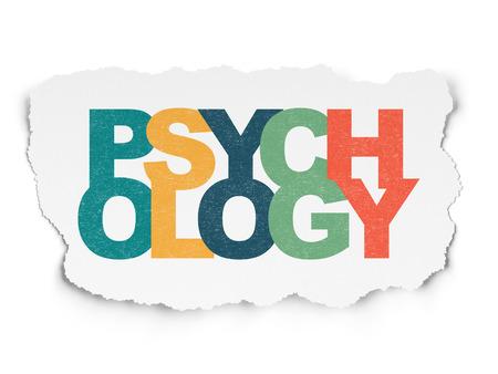 psicologia: Concepto de la salud: Pintadas multicolor texto Psicología en el fondo de papel rasgado Foto de archivo