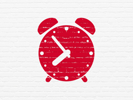 cronologia: Timeline concept: Painted red Alarm Clock icon on White Brick wall background Foto de archivo