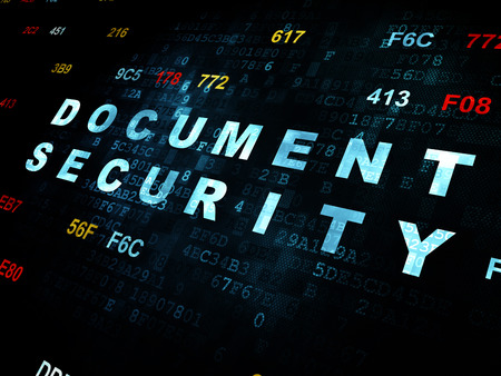 passkey: Safety concept: Pixelated blue text Document Security on Digital wall background with Hexadecimal Code