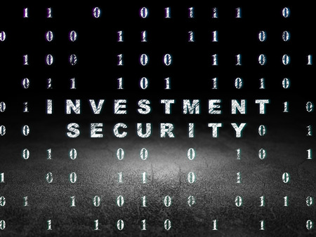 investment security: Privacy concept: Glowing text Investment Security in grunge dark room with Dirty Floor, black background with Binary Code