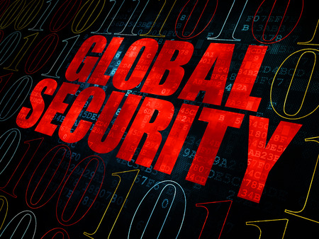 global security: Privacy concept: Pixelated red text Global Security on Digital wall background with Binary Code