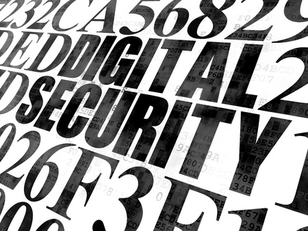 hexadecimal: Safety concept: Pixelated black text Digital Security on Digital wall background with Hexadecimal Code Stock Photo