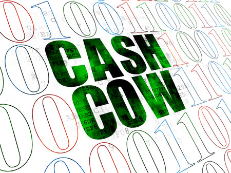 cash cow: Finance concept: Pixelated green text Cash Cow on Digital wall background with Binary Code