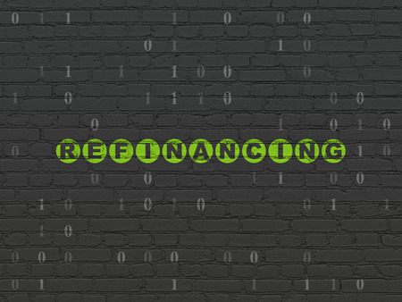 refinancing: Finance concept: Painted green text Refinancing on Black Brick wall background with Binary Code