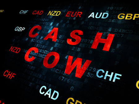cash cow: Business concept: Pixelated red text Cash Cow on Digital wall background with Currency