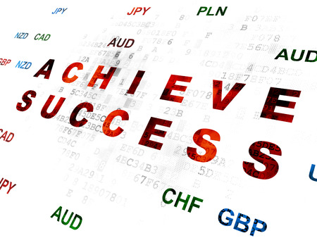 achieve: Business concept: Pixelated red text Achieve Success on Digital wall background with Currency