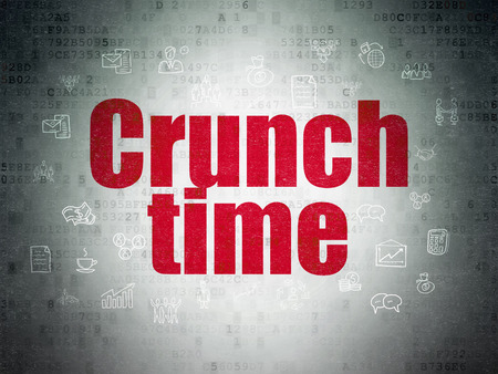 crunch: Business concept: Painted red text Crunch Time on Digital Paper background with  Hand Drawn Business Icons