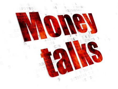 conversaciones: Concepto de las finanzas: Pixelated rojo texto Money Talks sobre fondo digital